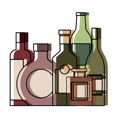 Collection bottles liquor beverage drink vector illustration Stock Illustratie