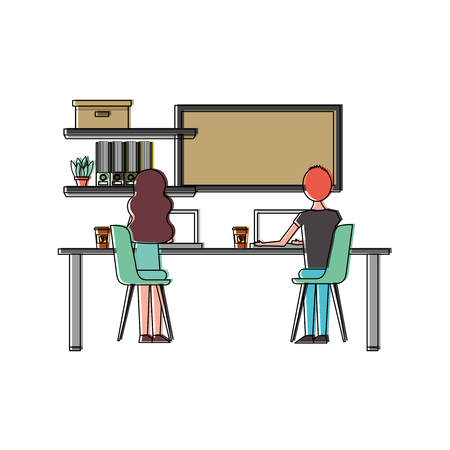 People young working in office desk laptop shelf books and board viewed from the back vector illustration 일러스트