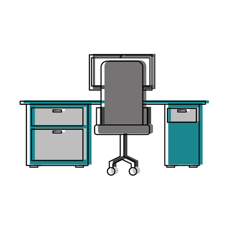 Workspace office desk computer armchair view back vector illustration