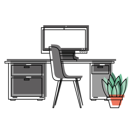 workspace office desk computer chair potted plant vector illustration