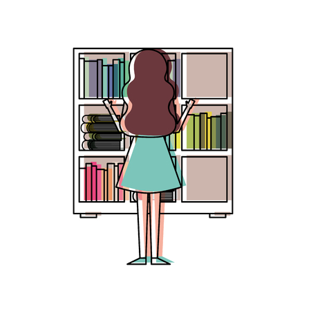 Bookshelf young woman choosing a book back view vector illustration