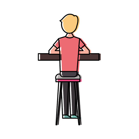 Back view cartoon man sitting on stool and counter vector illustration
