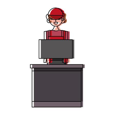 Barista female in uniform standing behind cash register vector illustration