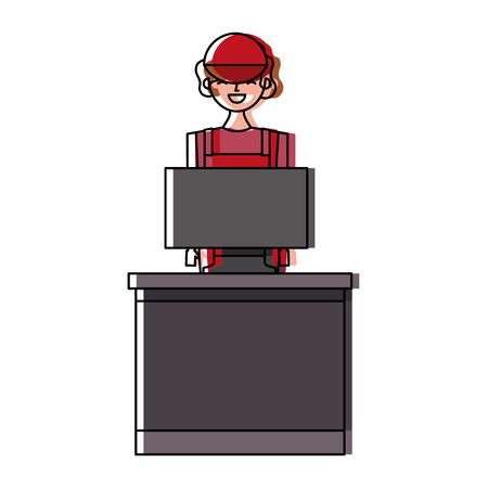 Barista female in uniform standing behind cash register vector illustration