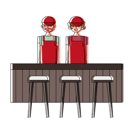 Employee baristas standing behind bar counter and stools vector illustration
