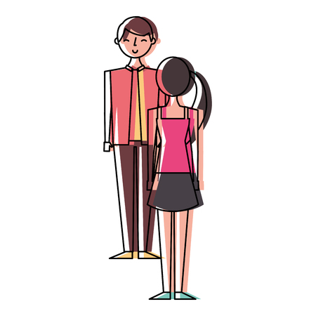 Couple standing looking at each other vector illustration Illustration
