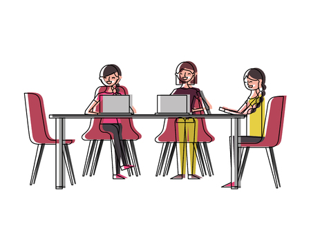 People group women sitting working together with laptops vector illustration Banque d'images - 97852064