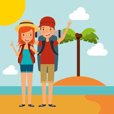 Couple tourist backpack on the beach traveling vacation vector illustration Stock Illustratie