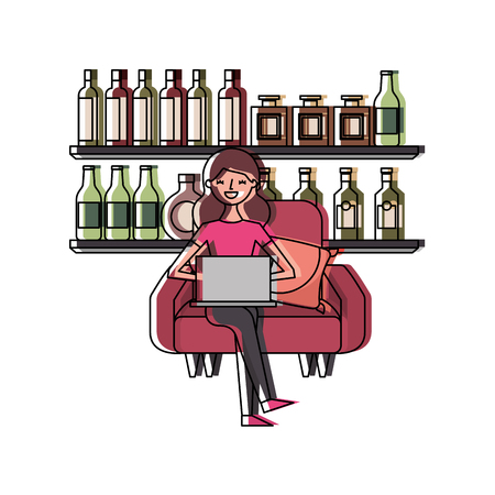 Happy woman sitting in the sofa laptop and shelf with bottle glass beverages vector illustration Illustration