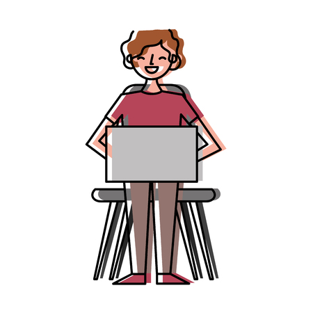 Young man sitting using her laptop vector illustration