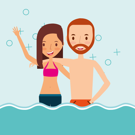 Couple in the sea traveling vacation vector illustration