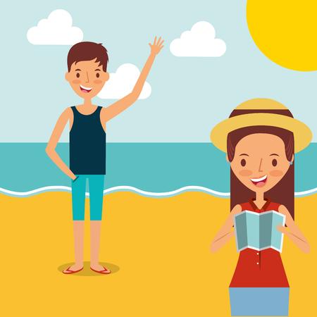 Tourists couple on the beach vector illustration