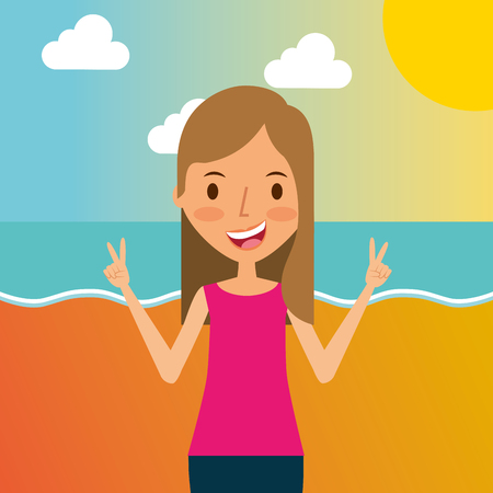 Cute young girl traveling vacation on the beach vector illustration