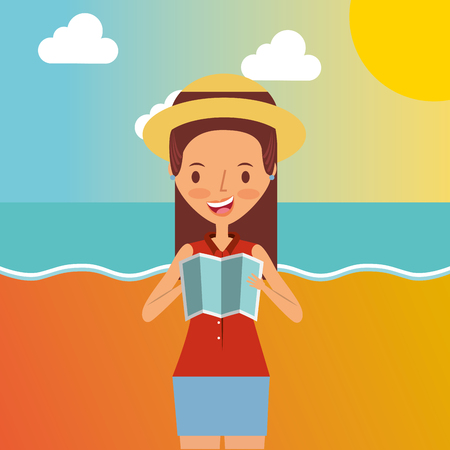 Beautiful woman holding map traveler vacation vector illustration Vettoriali