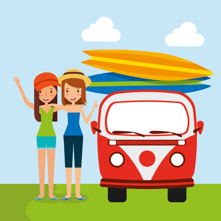 People traveling vacation van surfing boards vector illustration Imagens - 97852206
