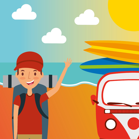 young boy backpack vacation on the beach vector illustration