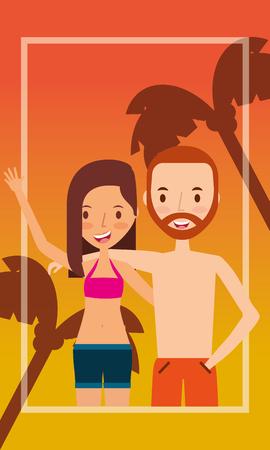 Couple traveling vacation sunset background vector illustration