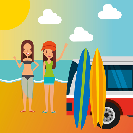 Cute girls van with surfing board in the beach vacation vector illustration. Illustration