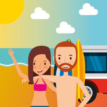 couple tourist traveler in the beach vector illustration