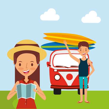 People traveling vacation van surfing boards in the field vector illustration