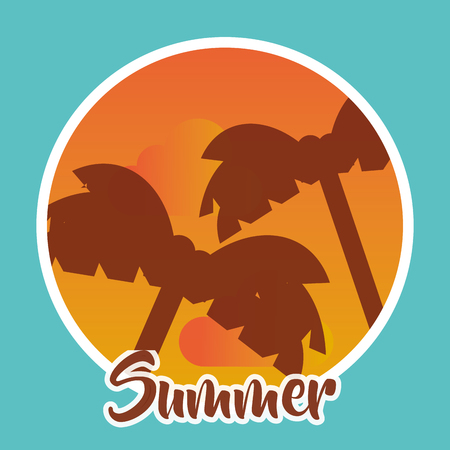 Tree silhouettes on circle frame summer season concept. Illustration