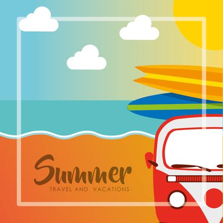 vintage van surfing boards summer travel and vacations vector illustration Illustration