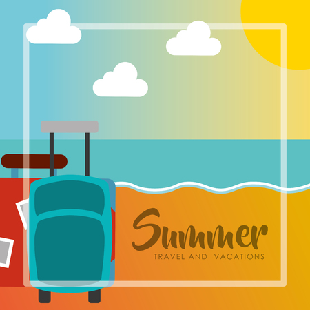 summer travel and vacations luggage baggage beach vector illustration Illustration