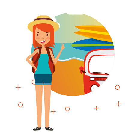 Happy woman summer vacations van surfing boards beach vector illustration