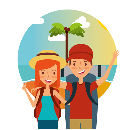 A traveling couple with hats and bags vector illustration