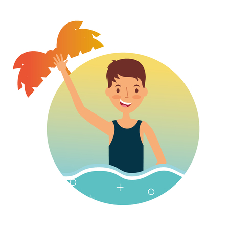 summer vacation happy man in the sea tropical vector illustration Illustration
