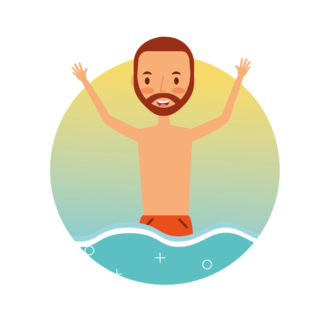 Summer vacation happy man in the sea tropical vector illustration