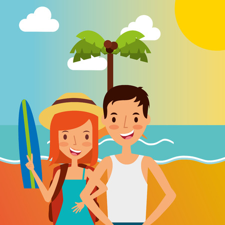 Summer vacations happy couple in the beach with surf board vector illustration Foto de archivo - 97852345