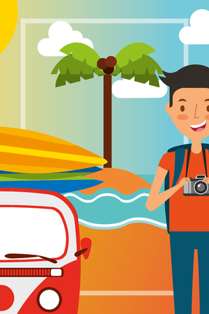 summer vacations young man with minivan in the beach vector illustration Illustration