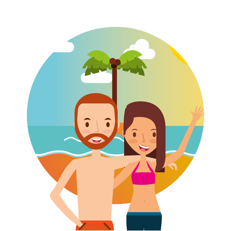 couple hugging in the beach summer vacations vector illustration Illustration