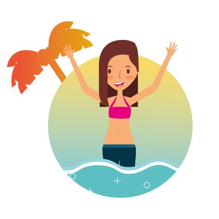 girl in swimsuit on sea summer vacations vector illustration Foto de archivo - 97757843