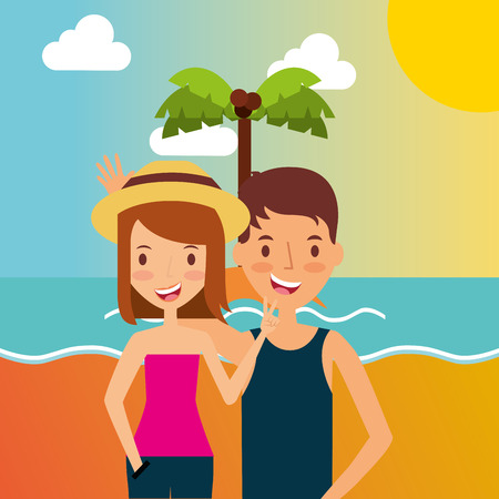 summer vacations happy couple hugging in the beach vector illustration