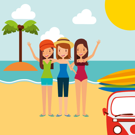 Summer vacations group friends girls in the beach vector illustration