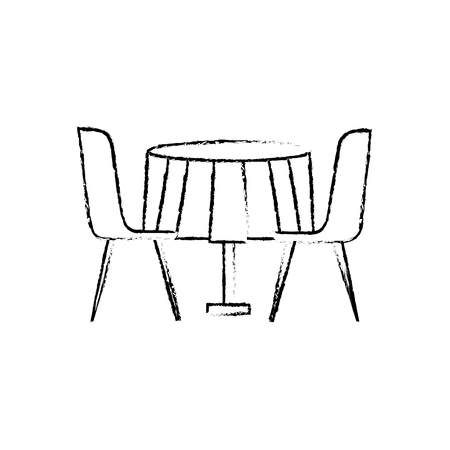 Furniture restaurant pair chair and round table vector illustration sketch design