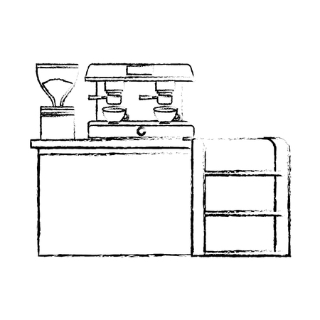 bar counter machine make coffee espresso vector illustration sketch design