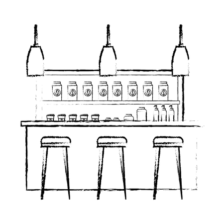 Coffee shop interior products shelving counter lamps vector illustration sketch design Stock Illustratie