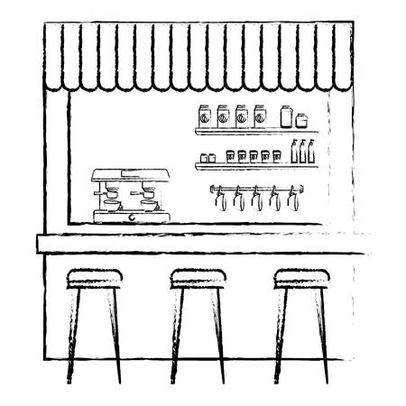 coffee shop machine espresso stools and shelf vector illustration sketch design
