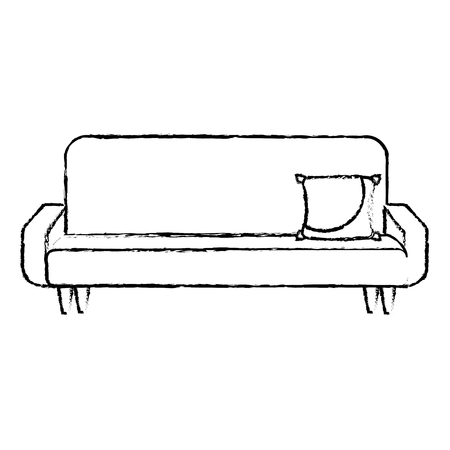 big sofa with cushion comfort furniture vector illustration sketch design