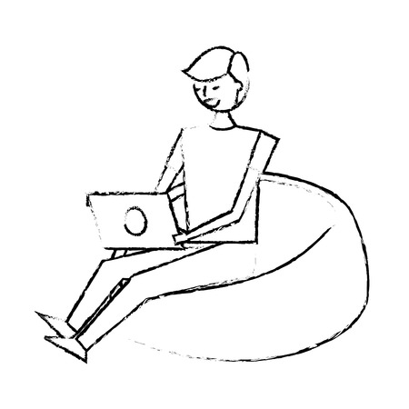 young man sitting working with laptop on bean bag vector illustration sketch design Illustration