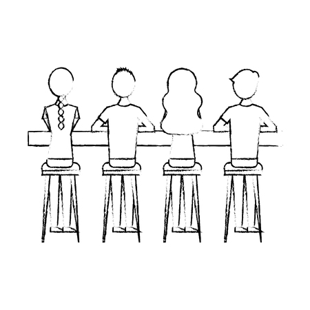 group people sitting on stool viewed from the back vector illustration sketch design