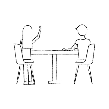 couple sitting on the chairs and table at view from the back vector illustration sketch design Illustration