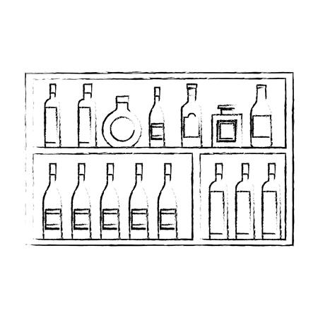 Shelving furniture with different glass bottles beverages alcohol vector illustration sketch design