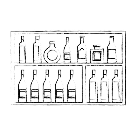 Shelving furniture with different glass bottles beverages alcohol vector illustration sketch design