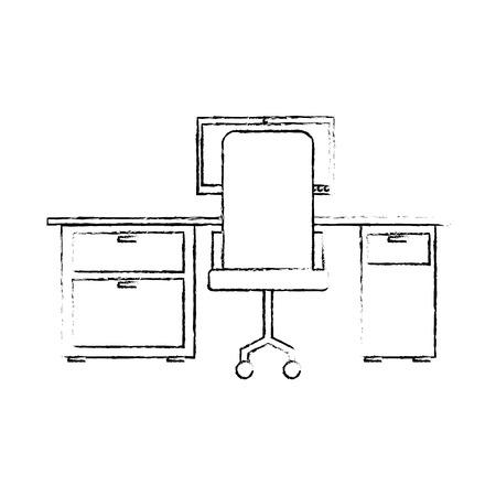 workspace office desk computer armchair view back vector illustration sketch design