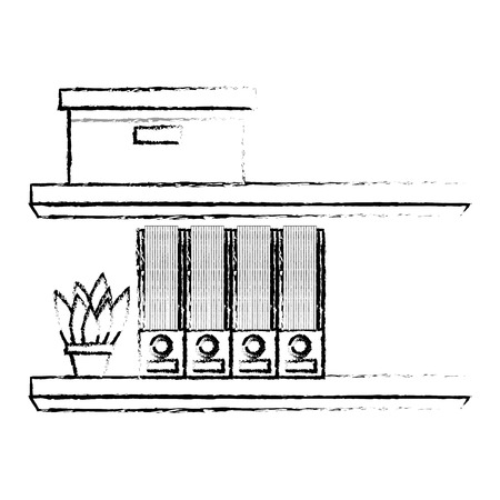 ポットベクトルイラストスケッチデザインで棚カートンボックスフォルダと植物