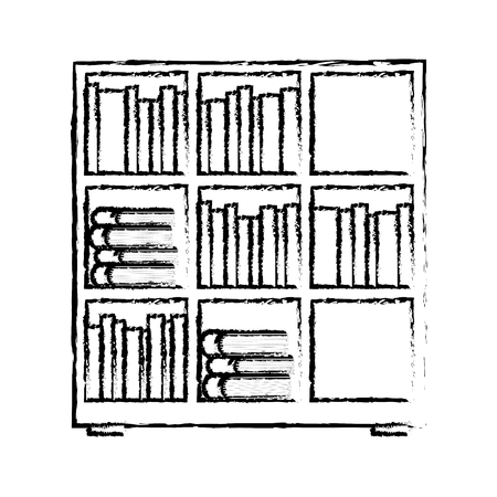Estantería y libros enciclopedia leer ilustración vectorial diseño boceto Foto de archivo - 97758921